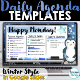 Daily Agenda Template | Daily Schedule Google Slides WINTER THEME
