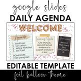 Daily Agenda Template - Google Slides - Foil Balloon Theme