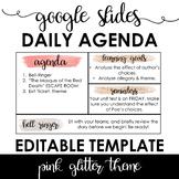 Daily Agenda Template - Google Slides - Pink Glitter Theme