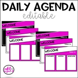 Daily Agenda Template - Pink, Black, and White