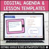 Digital Agenda and Lesson Templates | Editable | Tech Them