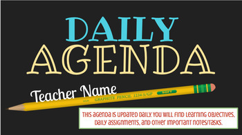 Daily Agenda for ALL SUBJECT AREAS - INSTANT DOWNLOAD GOOGLE PRESENTATION
