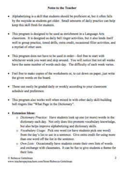 Daily Alphabetizing Practice Bell Work: A Thirty-Four Week Program