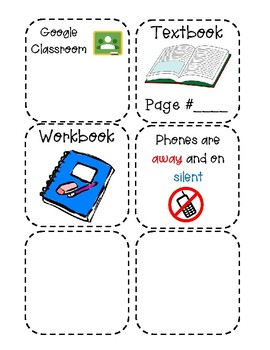 Daily Announcement Sheet for Document Camera