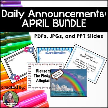 Daily Announcements APRIL Bundle