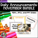 Daily Announcements NOVEMBER Bundle