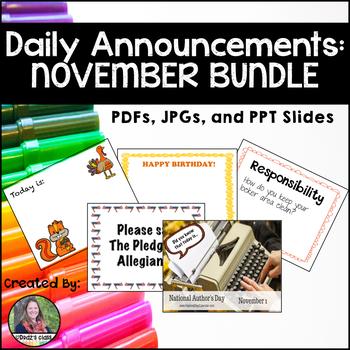 Daily Announcements NOVEMBER Bundle