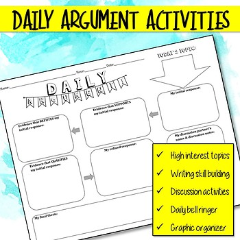Daily Argument Activities for Bell Ringer, Graphic Organizer, or Skill Building