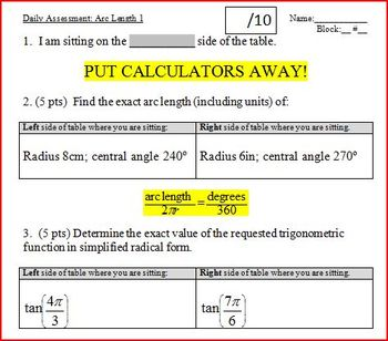 Daily Assessment: Arc Length 1; two versions (Editable)