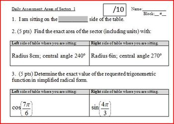 Daily Assessment: Areas of Sectors 1; two versions (Editable)