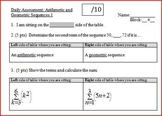 Daily Assessment: Arithmetic and Geometric Sequences 1; two versions (Editable)