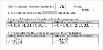 Daily Assessment: Quadratic Sequences 1; two versions (Editable)