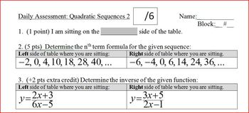 Daily Assessment: Quadratic Sequences 2; two versions (Editable)