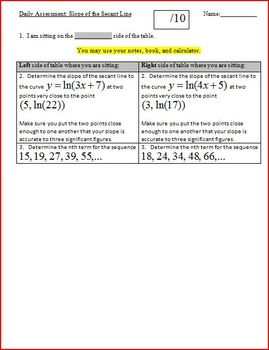 Daily Assessment: Slope of the Secant Line - two versions (Editable)