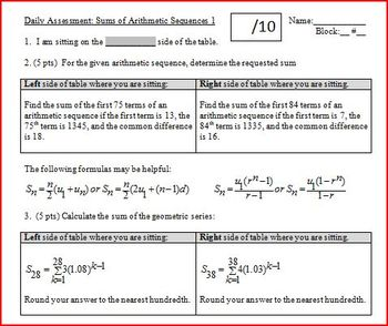 Daily Assessment: Sums of Arithmetic Sequences 1; two versions