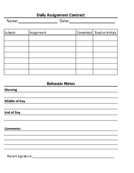 Daily Assignment Contract // Remind Students to Complete Their Classwork