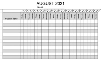 daily attendance sheets 2018 2019 by miss borsani tpt