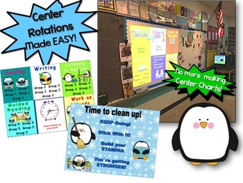 Daily Automated Centers and Guided Reading Rotation Powerpoint - Penguin Themed