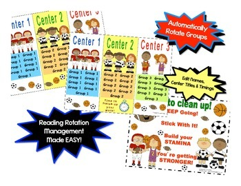 Daily Automated Centers and Guided Reading Rotation Powerpoint Sports Themed