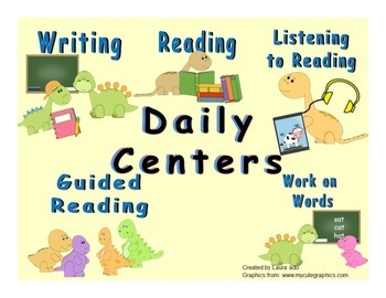 Daily Automated Centers and Guided Reading Rotation Powerpoint w/Cute Dinosaurs