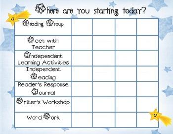 Daily Balanced Literacy Must Do Menu Rotation Chart Star Theme