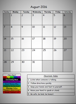 FREE Editable Behavior Calendar
