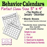 Daily Behavior Calendar Parent Notification chart Monthly Theme