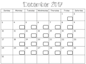 Daily Behavior Calendar for each Month 2017-2018