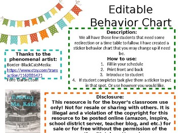 Editable***Daily Behavior Char