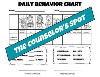 Daily Behavior Chart (1 & 2 Goal Options)