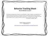 Behavior Tracking Sheet