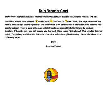 Daily Behavior Chart Check In