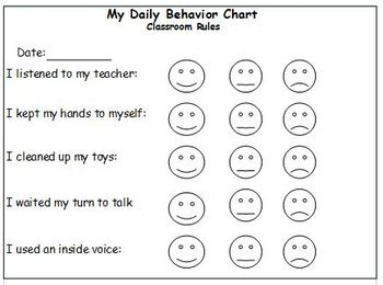 Daily behavior chart for preschoolers by jessica erickson tpt
