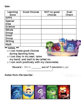 Daily Behavior Chart (Inside Out themed)