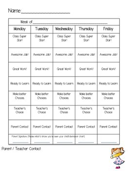 Daily Behavior Chart and Parent Communication Form