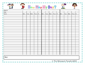 daily behavior teacher record chart for entire class by the