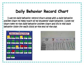 Daily Behavior Teacher Record Chart for Entire Class