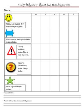 Classroom Management Behavior Chart for Daily Parent Communication