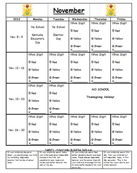 Daily Behavior Chart for Stoplight for November 2012