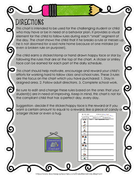 Daily Behavior Chart - with Pictures - Editable!