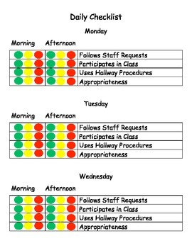 Daily Behavior Checklist