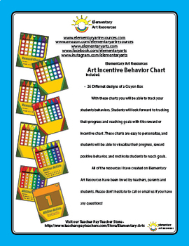 Daily Behavior Incentive Chart - Art Crayon Boxes