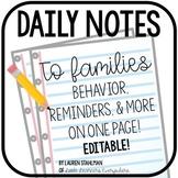 Behavior Note for Daily Communication Editable
