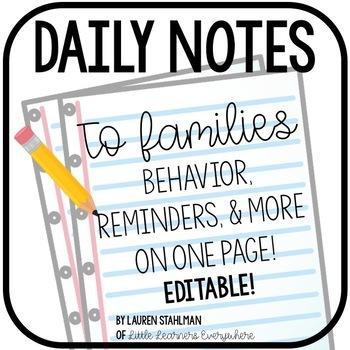 Daily Behavior Note Editable