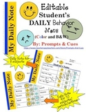 RTI-EDITABLE Daily Behavior Note (Color and B&W)