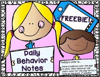 Daily Behavior Notes {FREEBIE}