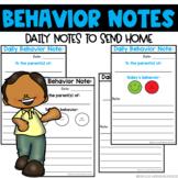 Daily Behavior Notes Home