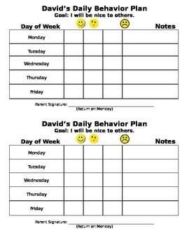 Daily Behavior Plan