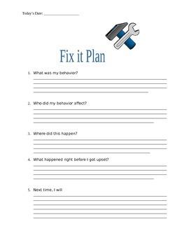 Daily Behavior Plan + Fix it Plan