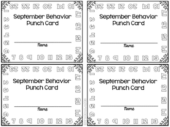 Daily Behavior Punch Cards